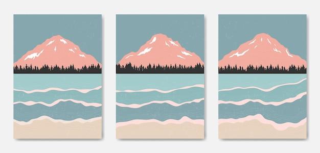 Piękny współczesny estetyczny minimalny krajobraz ilustracje plakatowe
