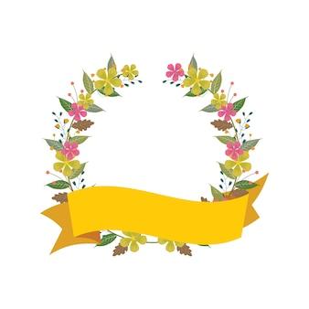 Piękny wstążka banner kwiatowy kwiat ślub ozdobny