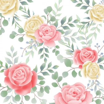 Piękny wzór akwarela róży kwiat