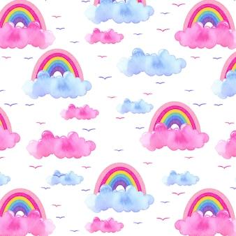 Piękny wzór akwarela z chmurami, tęczą i ptakami