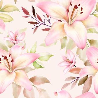 Piękny wzór akwareli lilii