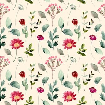 Piękny wzór dziki kwiat akwarela bezszwowe wzór