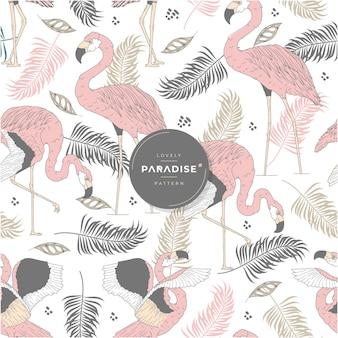Piękny wzór flamingów w tropikalnym raju
