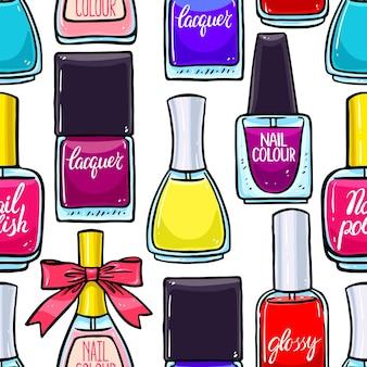 Piękny wzór kolorowych lakierów do paznokci.