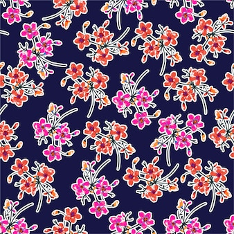Piękny wzór kwiatowy. motywy botaniczne rozrzucone losowo. tekstura wektor bez szwu do nadruków modowych. drukowanie w ręcznie rysowanym stylu