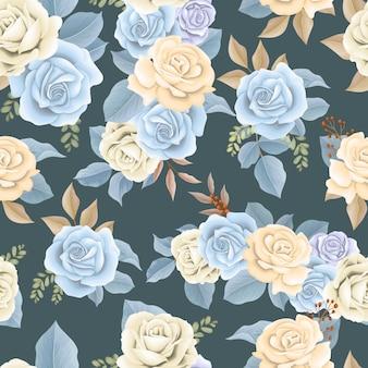 Piękny wzór niebieski kwiat i brązowe liście