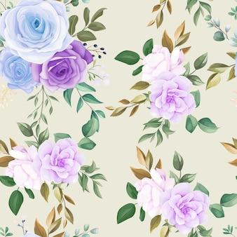 Piękny wzór niebieski kwiat i zielone liście