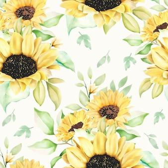 Piękny wzór słonecznika akwarela bezszwowe