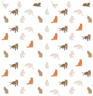 Piękny wzór w print kotów boho