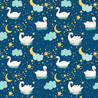 Piękny wzór z białymi łabędziami, księżycem i gwiazdami, użyj do tła dziecka, wydruków tekstylnych, okładek, tapet, plakatów. ilustracja wektorowa