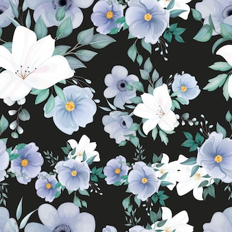 Piękny wzór z eleganckim kwiatem i liśćmi