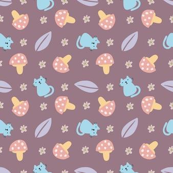 Piękny wzór z ikonami i elementami projektu uroczymi zwierzętami i grzybami