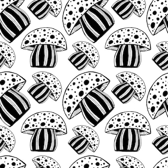 Piękny wzór z monochromatyczne rocznika rysowane ręcznie grzyby. jaskrawa psychodeliczna mozaiki amanita grafiki ilustracja.