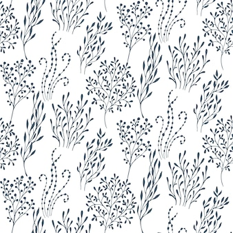 Piękny wzór z ręcznie rysowane motyw kwiatowy fantasy natura, kwiaty, rośliny, gałęzie. czarno-białe niekończące się tło wektor.