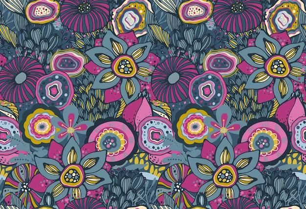 Piękny wzór z ręcznie rysowane motyw kwiatowy fantasy natura, kwiaty, rośliny, gałęzie. kolorowe niekończące się tło wektor.