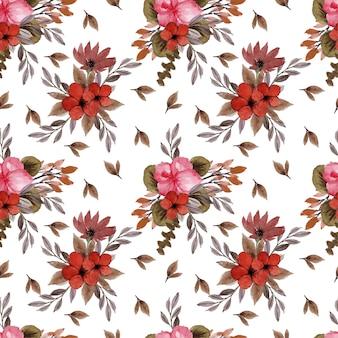 Piękny wzór z rocznika czerwonych kwiatów rustykalnych