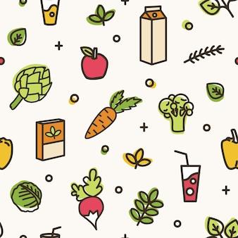 Piękny wzór z różnych pysznych warzyw i zdrowych produktów. tło z ekologicznej zdrowej żywności, eko odżywianie. kolorowa ilustracja wektorowa w nowoczesnym stylu sztuki linii