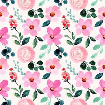 Piękny wzór z różową akwarelą kwiatowy
