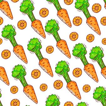 Piękny wzór z słodkie marchewki