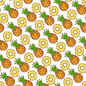 Piękny wzór z uroczymi żółtymi ananasami