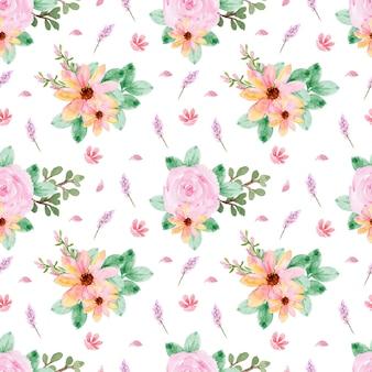Piękny wzór z żółtymi różowymi różami