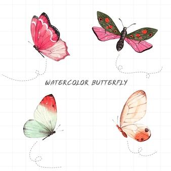 Piękny wzorzysty motyl namalowany akwarelą na białym tle.