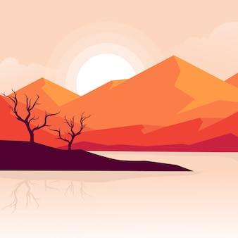 Piękny zachód słońca krajobraz natury