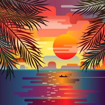 Piękny zachód słońca krajobraz plaży z liści palmowych. zachód słońca nad morzem. romantyczny zachód słońca.