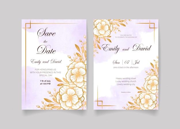 Piękny zapisz kartę data i karta zaproszenie na ślub ze złotymi kwiatami, liśćmi, tła akwarela i gałęzi. szczęśliwego zaproszenia na ślub. idealny na ślub i szczęśliwe małżeństwo!