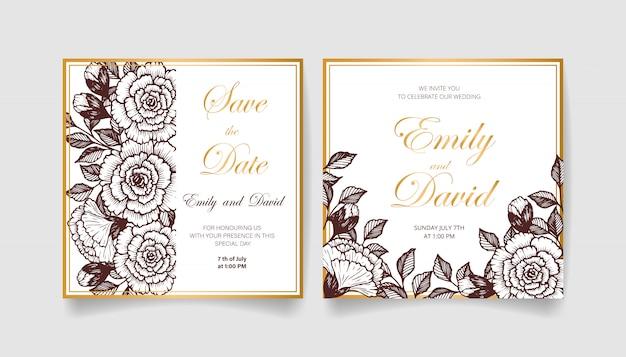 Piękny zapisz kartę daty i kartę zaproszenia na ślub z kwiatami, liśćmi i gałęziami. szczęśliwego zaproszenia na ślub. idealny na ślub i szczęśliwe małżeństwo!