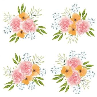 Piękny zestaw bukiet kwiatów goździków akwarela