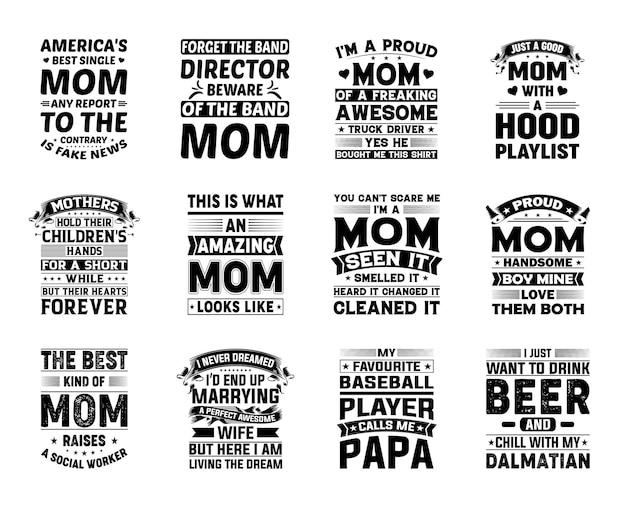 Piękny zestaw do projektowania typografii matki