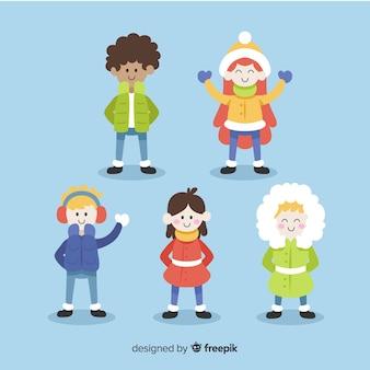 Piękny zestaw dzieci z zimowymi ubraniami