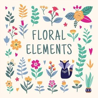 Piękny zestaw elementów kwiatowy