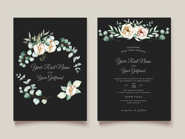 Piękny zestaw kart zaproszenie na ślub eukaliptusa