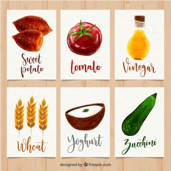 Piękny zestaw kart żywności akwarela