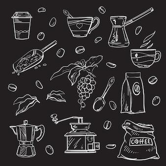 Piękny zestaw kawowy elementów wzoru