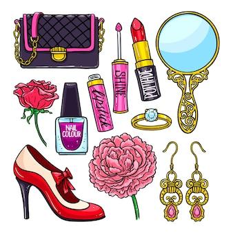 Piękny zestaw kobiecych rzeczy - kwiaty, szminka i lakier do paznokci. ręcznie rysowana ilustracja