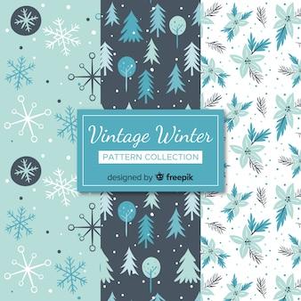 Piękny zestaw kolorowych wzorów zimowych