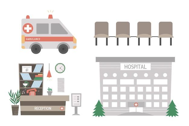 Piękny zestaw medyczny klinika ilustracja