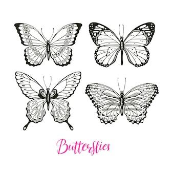 Piękny zestaw motyli szkicu. ręcznie rysowana ilustracja
