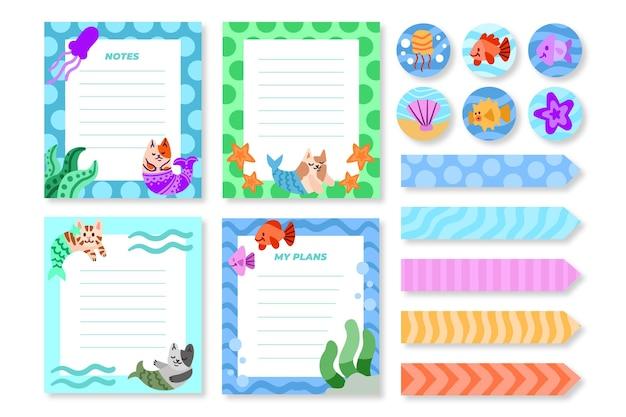 Piękny zestaw notatek i kart w notatniku