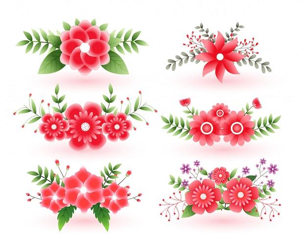 Piękny zestaw ozdobnych kwiatowych kwiatów z liśćmi