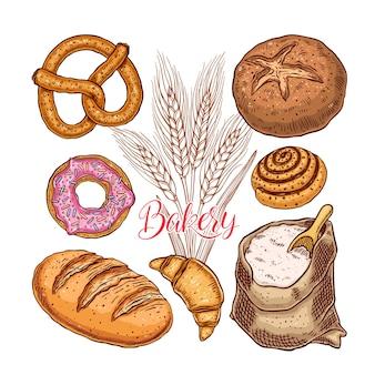 Piękny zestaw produktów piekarniczych. ręcznie rysowana ilustracja