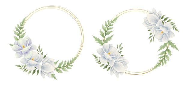 Piękny zestaw ramek akwarelowych magnolii