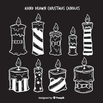 Piękny zestaw ręcznie rysowane świece świąteczne