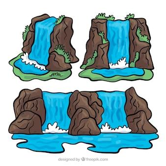 Piękny zestaw ręcznie rysowane wodospady