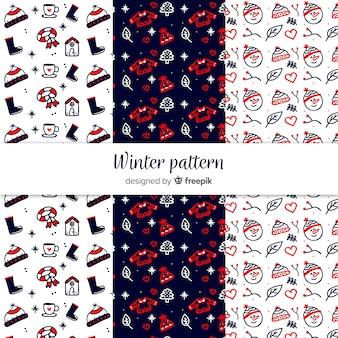 Piękny zestaw ręcznie rysowane zimowe wzory