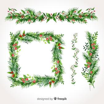 Piękny zestaw świątecznych granic i ramek