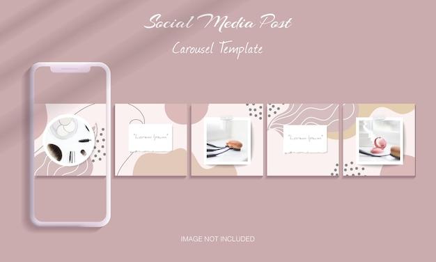 Piękny zestaw szablonów postów na instagram karuzeli